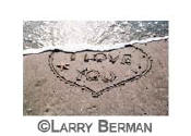 """i love you"" heart in sand sequence of three photographs"