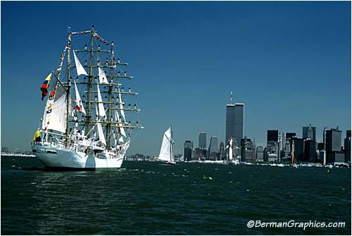 The Tall Ships approaching The World Trade Center in New York