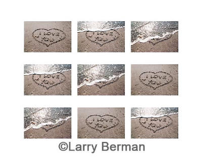 """i love you"" heart in sand sequence of nine photographs - tic tac toe"